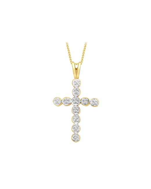 Simply Be Metallic 9ct Gold Diamond Cross Necklace