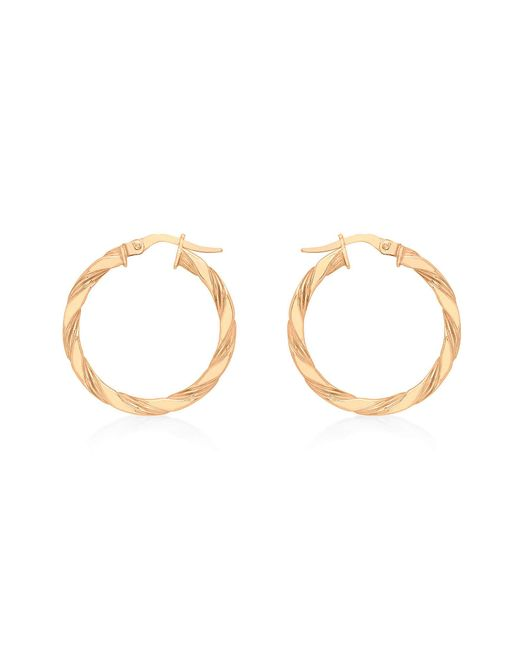 Simply Be Metallic 9ct Gold Small Twist Creole Earrings