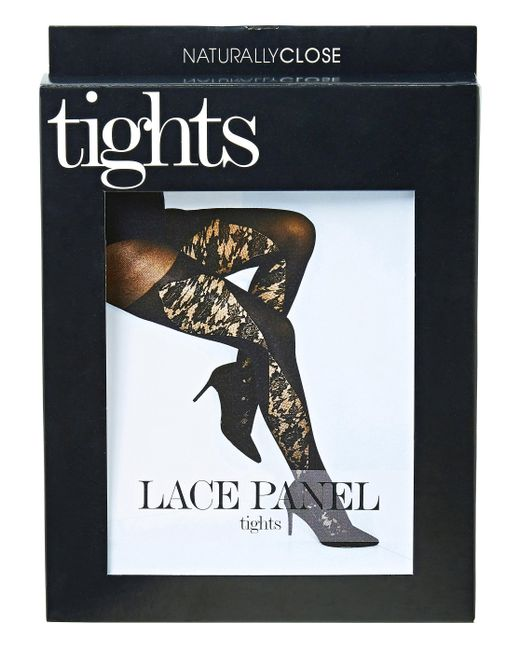 Simply Be - Black Naturally Close Lace Pannel Tights - Lyst