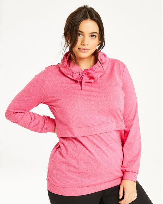 Simply Be - Pink Zipper Pocket Hoodie With Slouch Neck - Lyst
