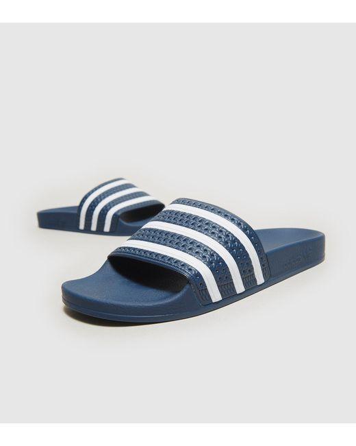 Adidas Originals   Blue Adilette Slides   Lyst