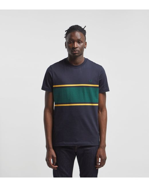 20feb007 Fred Perry - Black Colour Block T-shirt for Men - Lyst ...