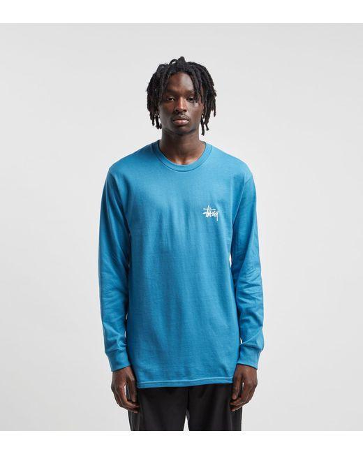 c681643b Stussy - Blue Long-sleeved Basic T-shirt for Men - Lyst ...