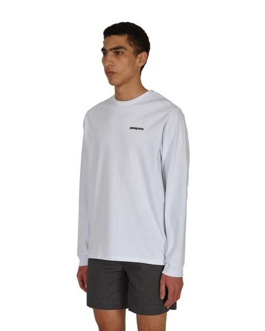 Patagonia White P-6 Logo Responsibili Longsleeve T-shirt for men