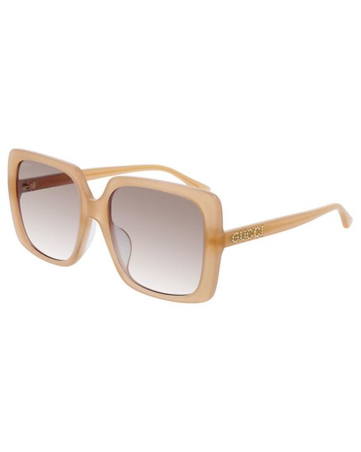 Gucci Natural GG0728SA Asian Fit 004 Women's Sunglasses Brown