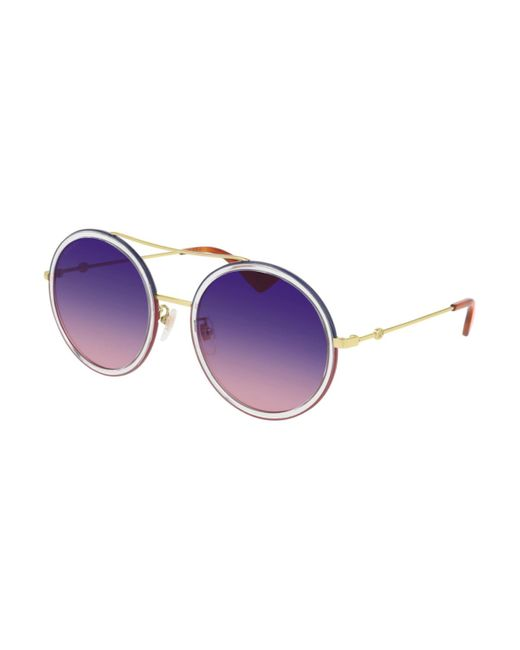 Gucci Blue 56mm Round Halo Frame Sunglasses