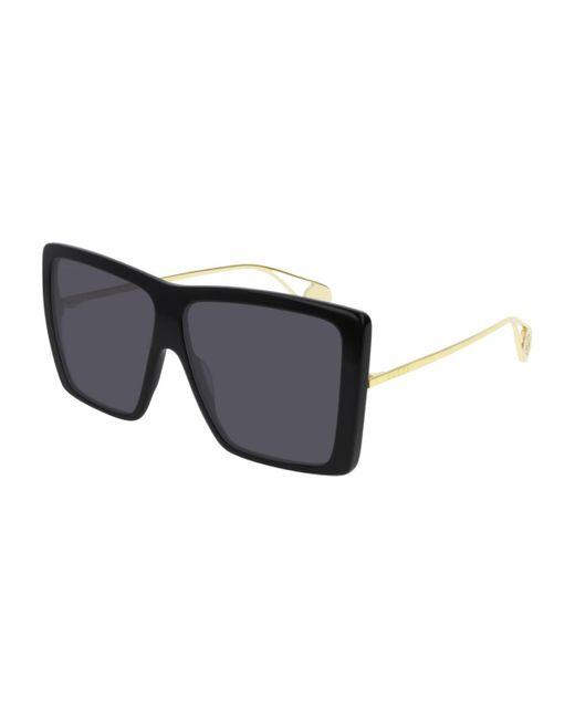Gucci Square Sunglasses In Black Acetate With Black Lenses