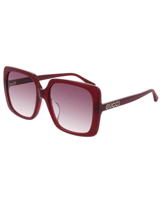 Gucci Red GG0728SA Asian Fit 003 Women's Sunglasses