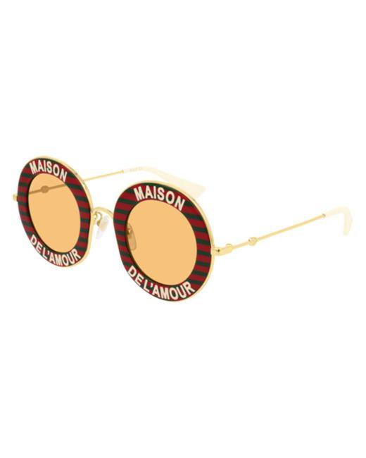 Gucci Red Maison De L'amour Round-frame Enamel And Gold-tone Sunglasses