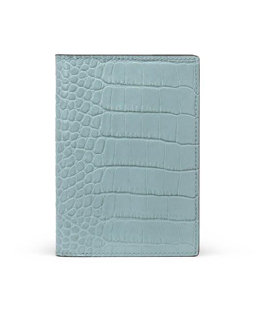Smythson Blue Mara Passport Cover