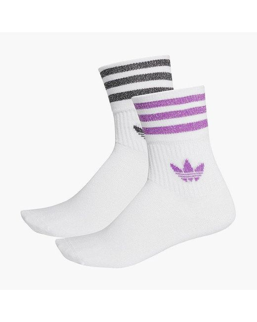 Adidas Originals White Mid-cut Glitter Crew Fl9685