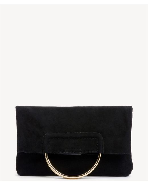 Sole Society - Black Darci Clutch Genuine Suede Foldover Clutch With Metal Detail - Lyst