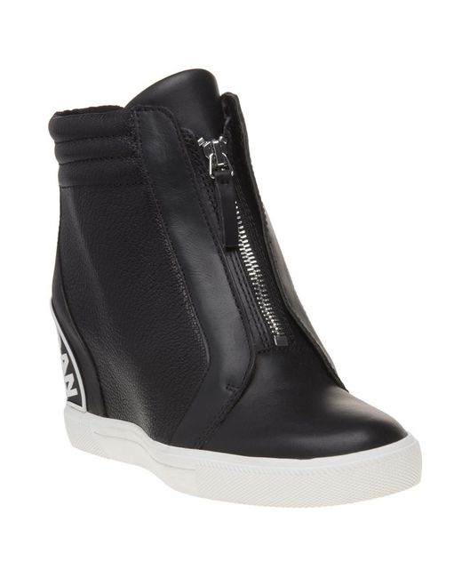 DKNY - Black Connie Slip On Wedge Trainers - Lyst