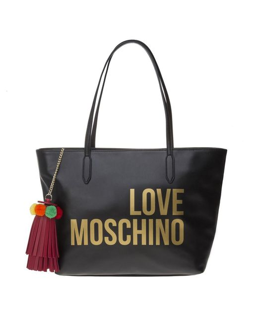 2b1c0848ec8b Love Moschino - Black Zip Tote Handbag - Lyst ...