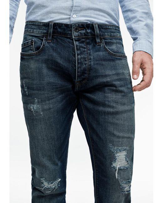 Q/S designed by Rick Slim: Denim im Used Look in Blue für Herren