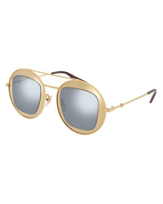 Gucci Metallic Oversized Round Mirrored Sunglasses