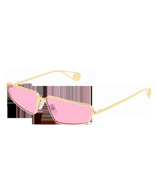 Gucci Metallic Rectangular Sunglasses In Golden Metal With Pink Lenses