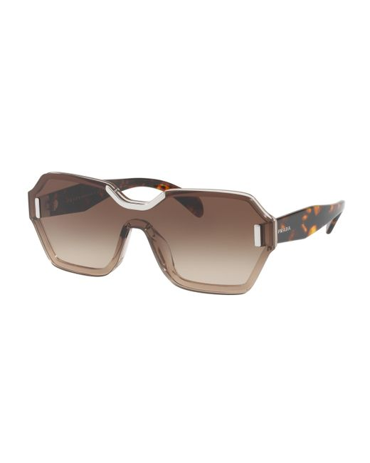 Prada - Brown 15ts Shield Sunglasses - Lyst
