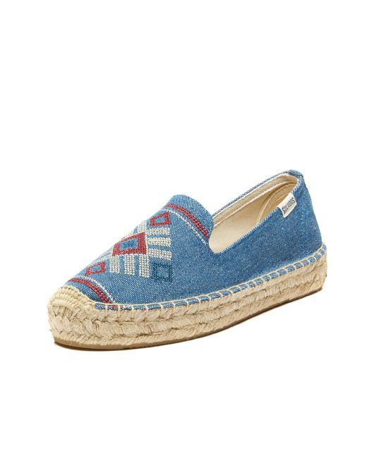 Soludos | Blue Yucatan Embroidered Platform Smoking Slipper | Lyst