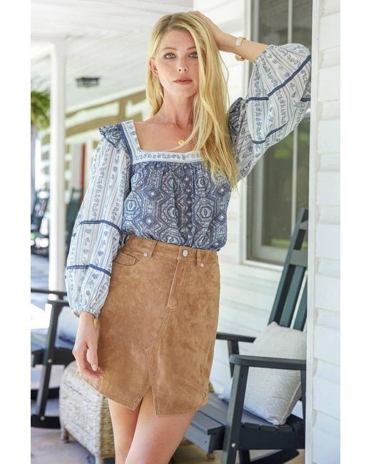 Free People Mostly Meadow Blouse Blue Multi