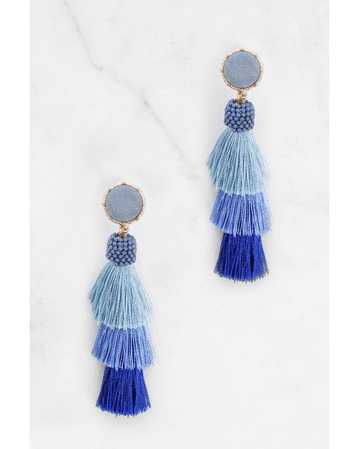 South Moon Under | Blue Tiered Tassel Drop Earrings | Lyst