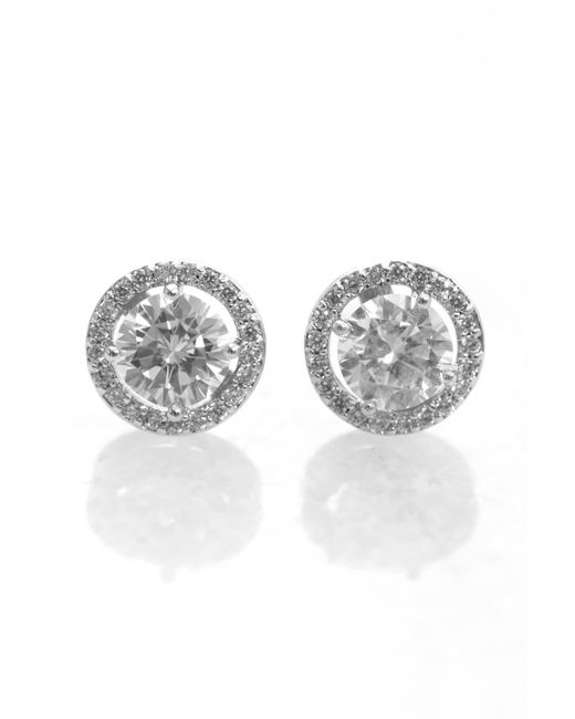 South Moon Under - Metallic Large Cz Stud With Cz Wreath - Lyst