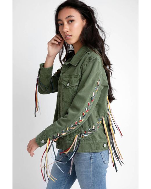 Blank NYC - Green Olive Jacket With Ribbon Detail - Lyst ...