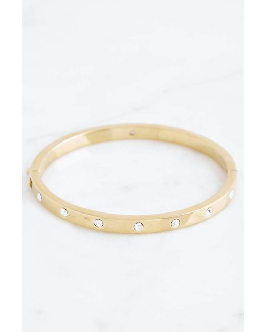 South Moon Under - Metallic Set In Stone Hinged Bangle - Lyst