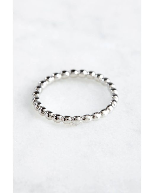 South Moon Under - Metallic Silver Linear Ball Ring - Lyst