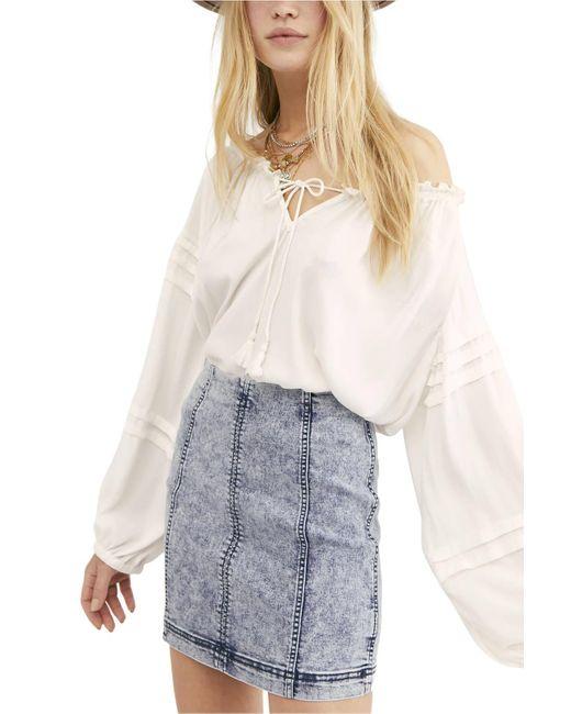 Free People Modern Femme Blue Acid Wash Denim Skirt Blue Multi