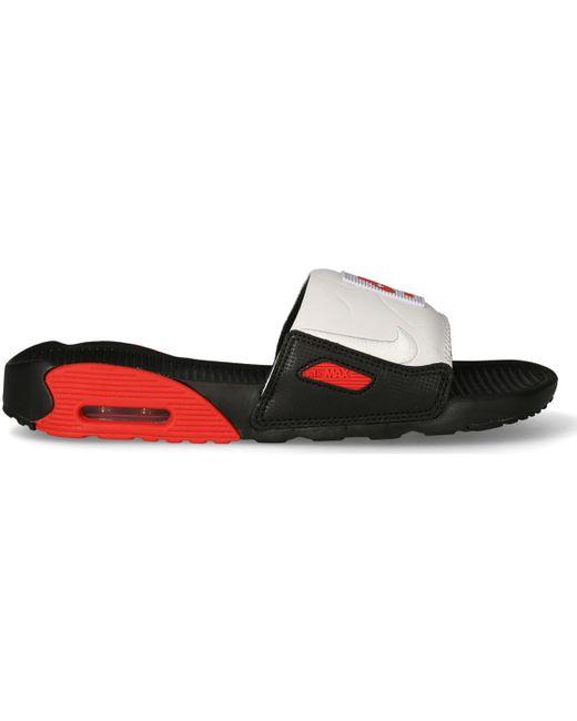 Air Max 90 Slide Noir Rouge Blanc Claquettes Nike pour homme en ...