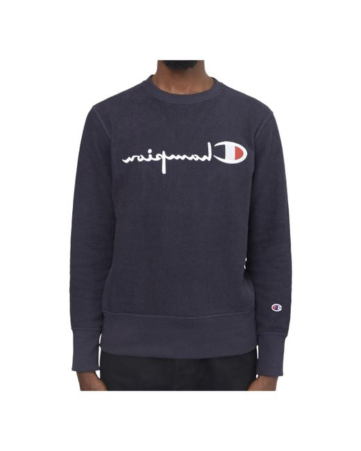 Champion | Champion Terry Classic Reverse Weave Sweatshirt Navy Men's Sweater In Blue for Men | Lyst