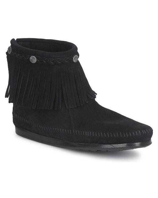 Boots HI TOP BACK ZIP BOOT Minnetonka en coloris Black