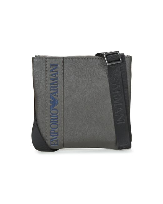 Emporio Armani - Gray Webbing Small Flat Messeger Men's Pouch In Grey for Men - Lyst