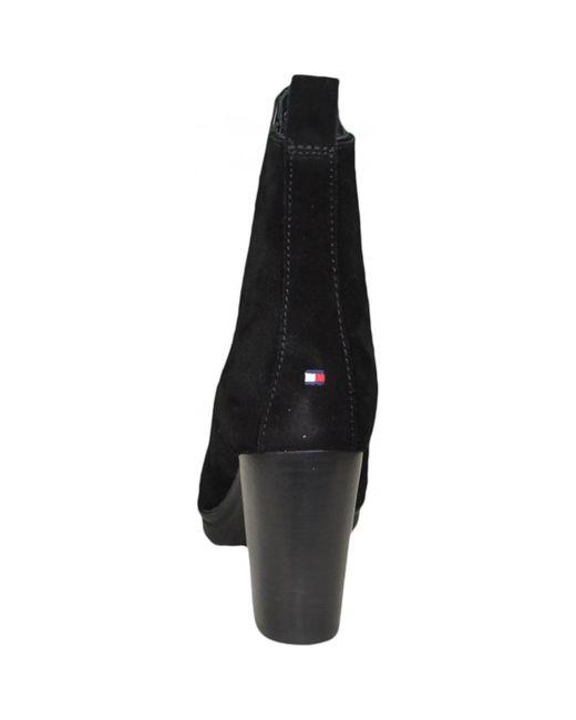 Bottines à talon noires Tommy Hilfiger en coloris Black