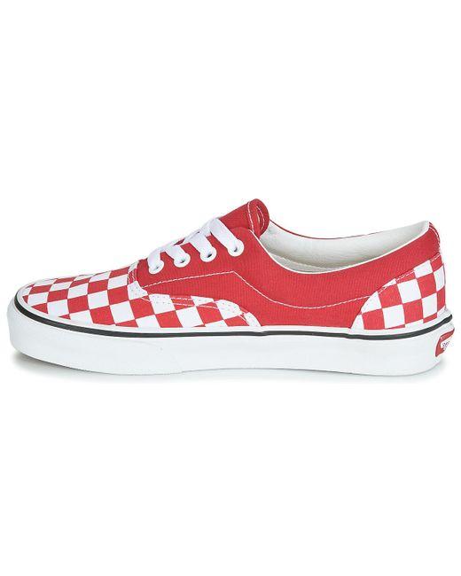 Chaussures Checkerboard Era Toile Vans pour homme en coloris Rouge ...