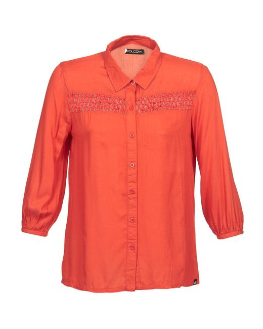 Volcom - Knotty Women's Long Sleeved Shirt In Orange - Lyst