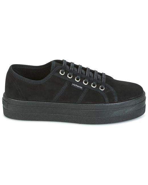 Victoria Lage Sneakers Blucher Antelina Plataforma in het Black