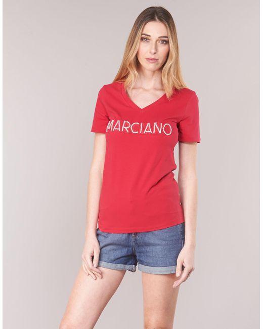 Marciano T-shirt Korte Mouw Logo Patch Crystal in het Red