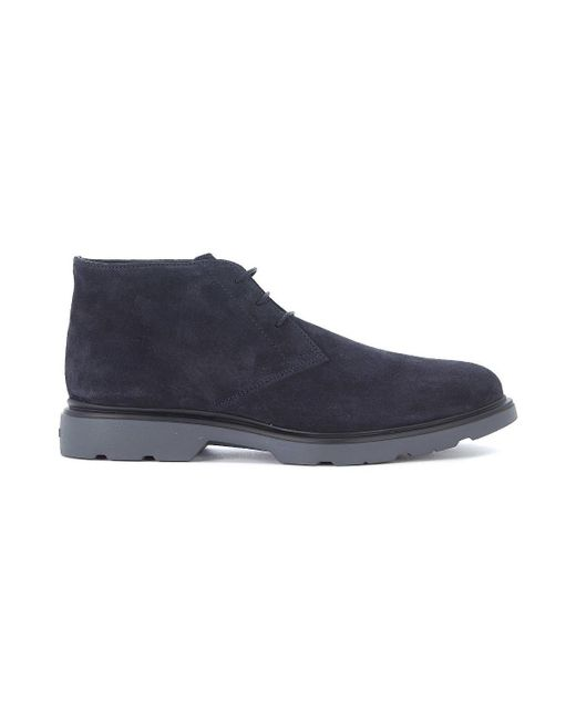 Hogan - H304 Blue Suede Ankle Shoes Men's Mid Boots In Blue for Men - Lyst