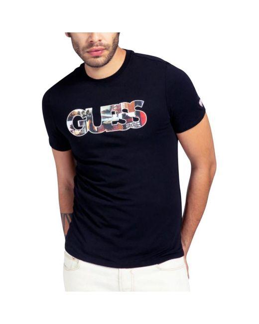 Tee Shirt Slim Col Rond Logo Frontal Photoshow T-shirt Guess pour homme en coloris Black