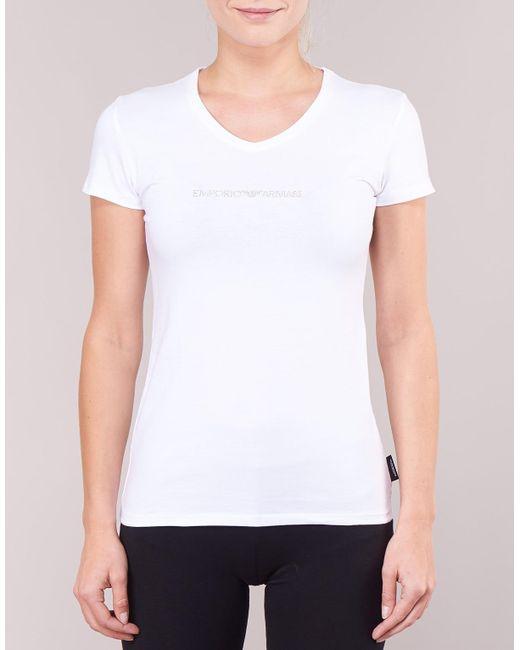 3cf7ef3eb2bb Emporio Armani Cc317-163321-00010 Women's T Shirt In White in White ...