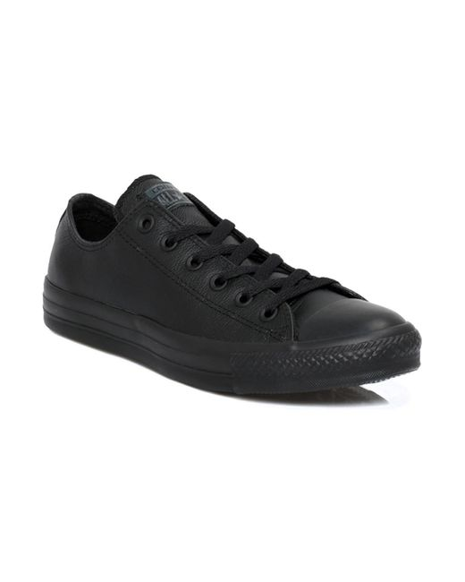 Converse Mens Womens Black All Star Ox Leather Trainers Women's Shoes (trainers) In Black