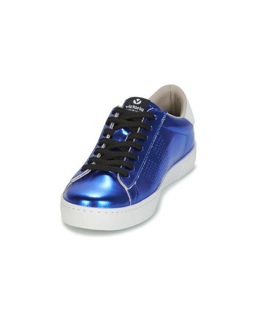 Victoria Lage Sneakers Deportivo Metalizado in het Blue