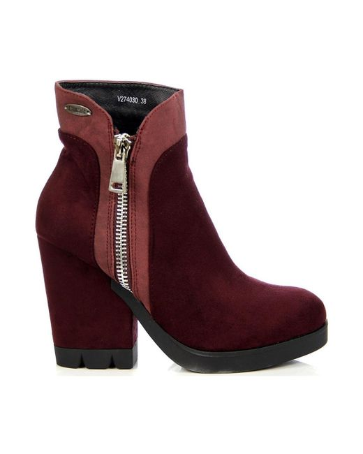 Big Star | Purple Burgund Ocieplane Na Słupku Women's Low Ankle Boots In Multicolour | Lyst