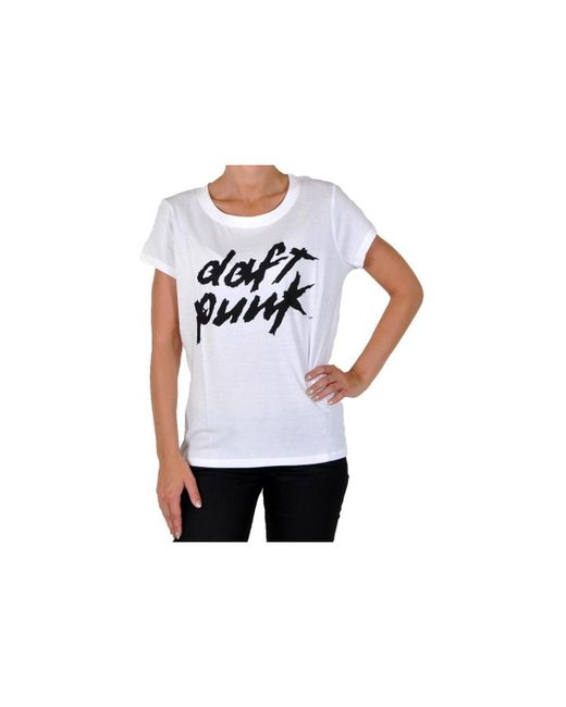 ELEVEN PARIS | T-shirt Daft Punk Logo W Ts White Women's T Shirt In White | Lyst