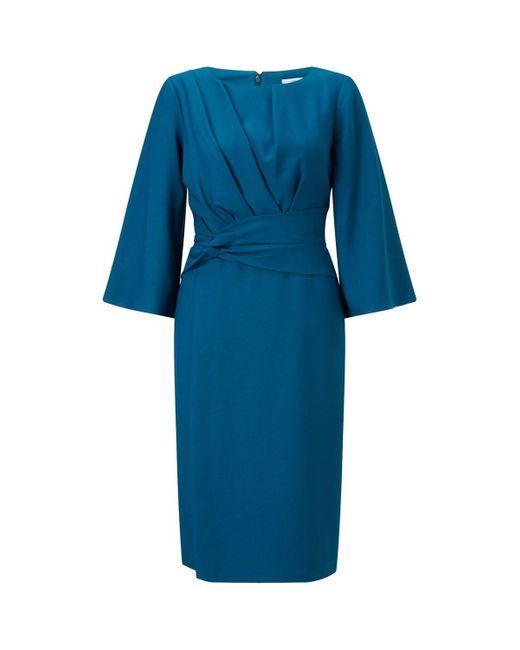Jacques Vert Green Pleated Waist Detail Lined Dress