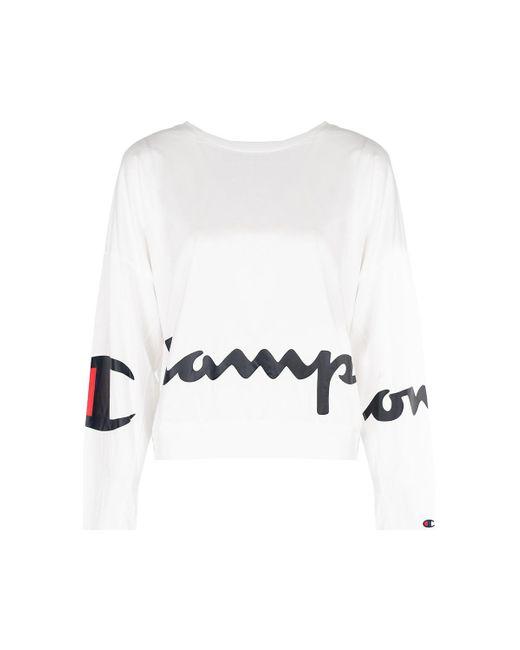 Champion T-shirt Lange Mouw in het White