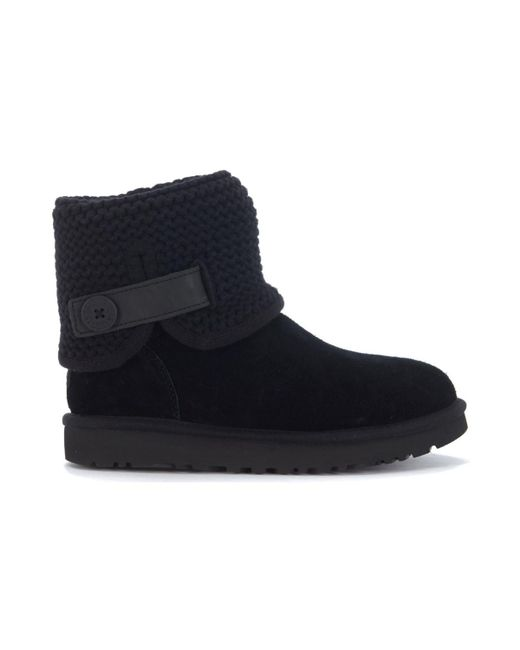 Ugg - Classic Ii Shaina Ankle Boots In Black Suede And Wool Women's Mid Boots In Black - Lyst
