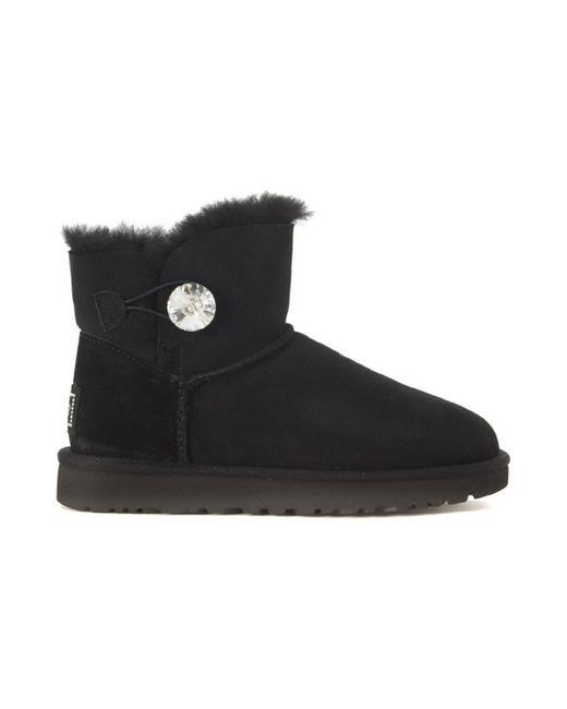 Ugg Tronchetto Classic Ii Mini Bailey Button In Suede Nero Women's High Boots In Black